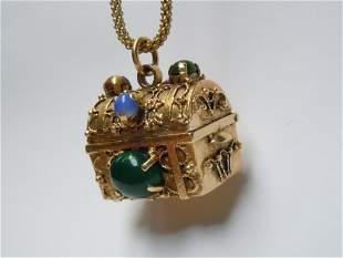14K GOLD GEMSTONE ENCRUSTED TREASURE CHEST PENDANT