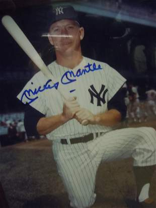 FRAMED 8X10 MICKEY MANTLE SIGNED PHOTO AUTOGRAPH