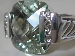 DAVID YURMAN LARGE 15MM PRASIOLITE SAGE DIAMOND RING