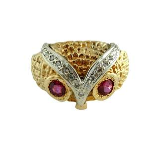 TWO TONE 14K GOLD DIAMOND, RUBY WISE OWL PINKY RING