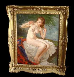 SZANTHO MARIA YOUNG SEATED FEMALE NUDE OIL PAINTING