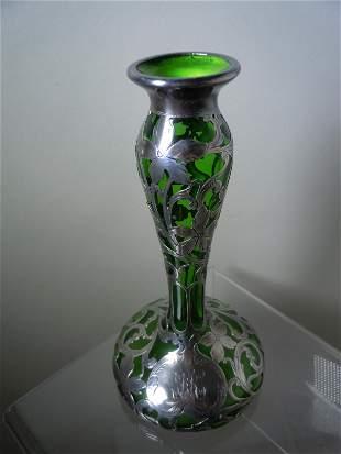 ALVIN SILVER OVERLAID GLASS VASE c 1900 VERDIGRIS GREEN