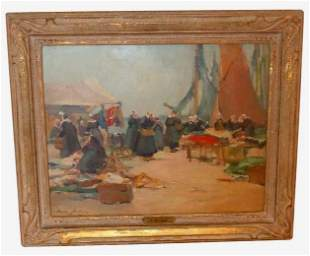 HENRI LUCIEN JOSEPH BURON MARKET ON QUAY OIL PAINTING