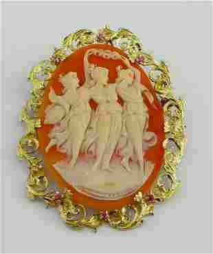 THREE GRACES CAMEO PENDANT BROOCH 18Kt GOLD w RUBY