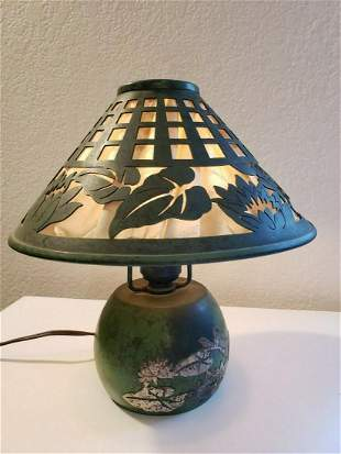 HEINTZ STERLING on BRONZE BOUDOIR LAMP IN WATER LILY