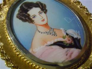 CORLETTO 18K GOLD DIAMOND FRENCH LADY PORTRAIT BROOCH