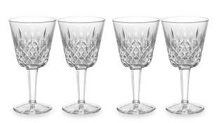 4 LISMORE CLARET RED WINE GLASSES WATERFORD (Two Pairs)