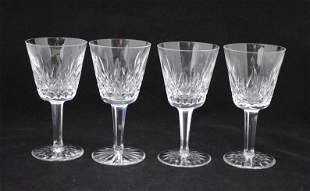 4 LISMORE WHITE WINE GOBLETS 4oz. WATERFORD (Two Pairs)