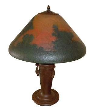 HANDEL REVERSE PAINTED, LUSH LANDSCAPE TABLE LAMP