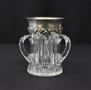 TIFFANY MAKERS STERLING SILVER CRYSTAL LOVING CUP c1890
