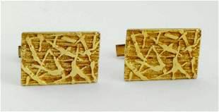 1950'S BAMBOO FORM 14K GOLD CUFF LINKS 14KT CUFFLINKS
