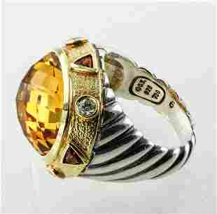 DAVID YURMAN RENAISSANCE 18K GOLD CITRINE DIAMOND RING