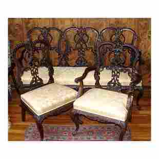 19TH CENTURY VICTORIAN CHIPPENDALE SETTEE ARMCHAIR