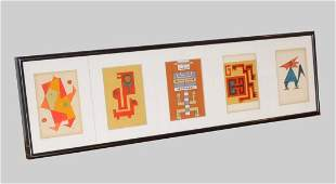 GERALD COARDING PENTAPTYCH ABSTRACT FIGURES MIXED MEDIA