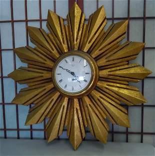 SMITHS GILT WOOD SUNBURST BRITISH WALL CLOCK STARBURST
