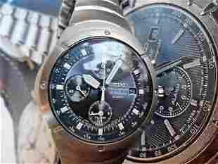 MENS SEIKO 7T62-0AG0 CHRONOGRAPH TITANIUM BLUE DIAL