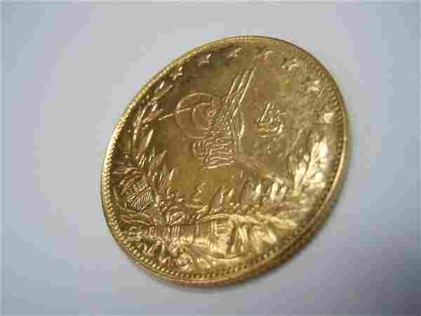 1909 OTTOMAN TURKISH 22K GOLD 100 KURUSH GOLD COIN