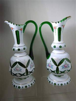 CUT TO CLEAR BOHEMIAN WHITE TO GREEN EWER PITCHER VASES