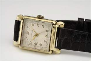 CHUNKY MEN'S 14K GOLD LONGINES WRISTWATCH C. 1945 w BOX
