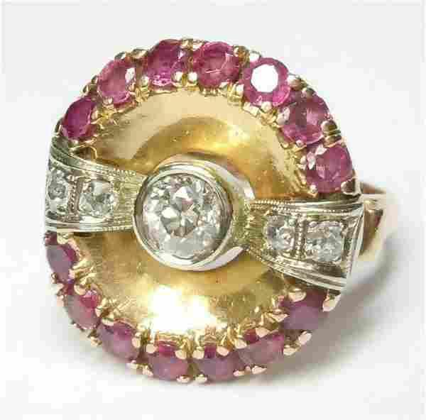 14K ROSE GOLD RUBY 0.55 CT OLD EUROPEAN CUT DIAMOND BOW