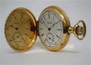 FW LINDON BROOKLYN NY GOLD FILLED HUNTING POCKET WATCH