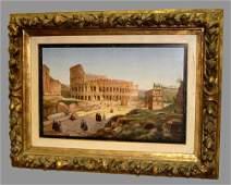 ROME COLOSSEUM GRAND TOUR MICROMOSAIC PLAQUE Ca. 1870