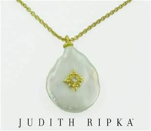 18KT GOLD JUDITH RIPKA STARBURST DIAMOND CULTURED