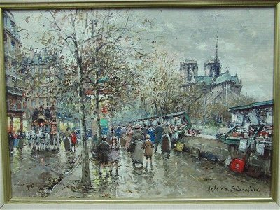 ANTOINE BLANCHARD OIL PAINTING BOUQUINISTES NOTRE DAME