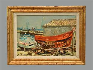 JEAN RIGAUD ILE D'YEU CHANTIER NAVAL -1967 OIL PAINTING
