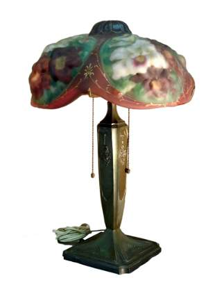 PAIRPOINT PUFFY TABLE LAMP OXFORD SHADE REVERSE-PAINTED