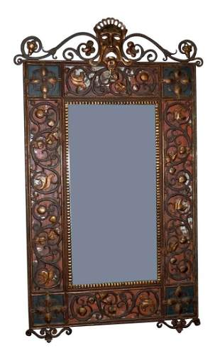 OSCAR BACH PATINATED BRONZE MIRROR C1925 w THEATER MASK