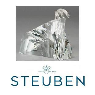 STEUBEN SILVER POLAR BEAR On ICEBERG By JAMES HOUSTON