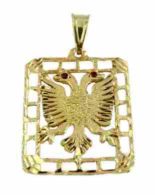 14K GOLD RUSSIAN TZAR DOUBLE EAGLE PENDANT w RUBY EYES