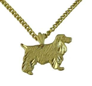 14K GOLD SHAGGY DOG PENDANT, ENGLISH SPRINGER SPANIEL