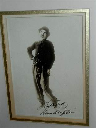 CHARLIE CHAPLIN SIGNED SEPIA PHOTOGRAPH JAMES SPENCE