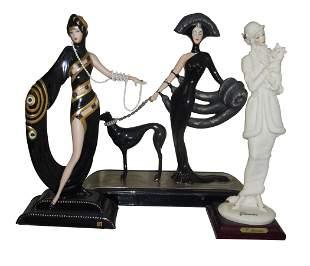 ERTE SYMPHONY BLACK PEARLS EMERALDS ARMANI LADY w/ DOG