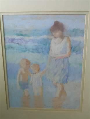MANNER of EDWARD POTTHAST MOTHER CHILD BEACH PASTEL