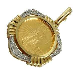 1/10 OZ US GOLD EAGLE COIN 14K GOLD DIAMOND PENDANT