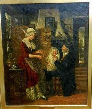 1890 ADRIEN JEAN MADIOL DUTCH MOTHER CHILD OIL PAINTING