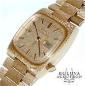 MEN'S 14K GOLD DIAMOND BULOVA ACCUQUARTZ DAY DATE WATCH