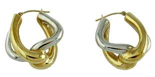 TWISTED TWO TONE 14K YELLOW/WHITE GOLD MODERN EARRINGS