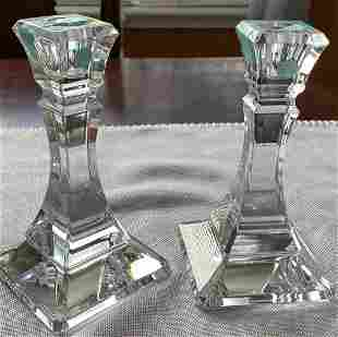 TIFFANY SQUARE CRYSTAL CANDLE HOLDER CANDLESTICKS w BOX