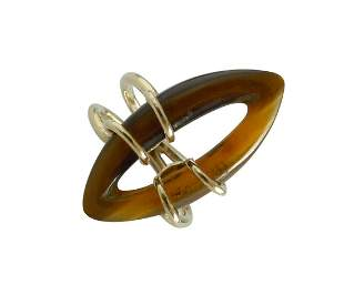 14K GOLD MARQUISE SHAPE MYSTERY TIGEREYE WIRE WRAP RING