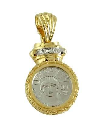 STATUE LIBERTY PLATINUM COIN 14K GOLD DIAMOND PENDANT