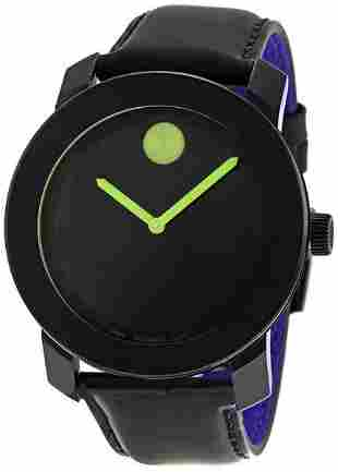 MOVADO BOLD 42MM GREEN ACCENT BLACK MEN'S WATCH 3600004