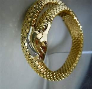 Two Tone 18K GOLD SERPENT BRACELET RUBY EYES 45.1 Gr