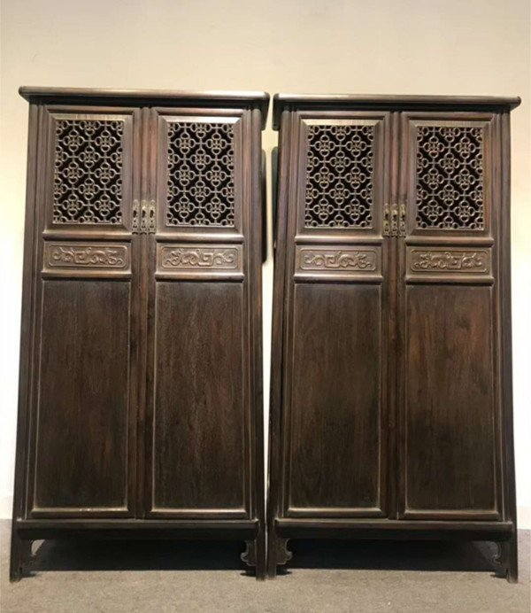 Rare Pair Chinese Antique Zitan Wood Cabinets