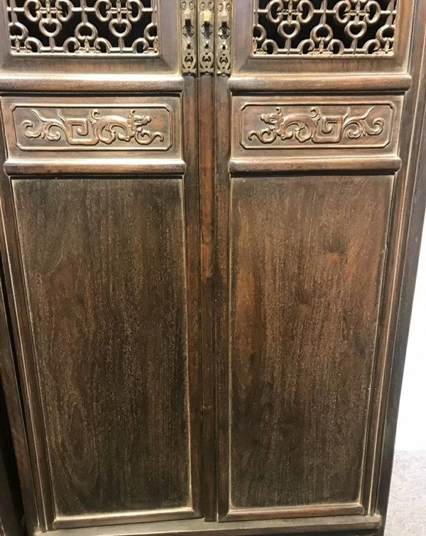 Rare Pair Chinese Antique Zitan Wood Cabinets - 2