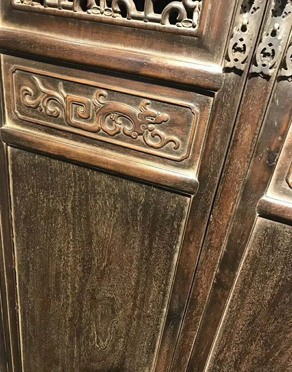 Rare Pair Chinese Antique Zitan Wood Cabinets - 4