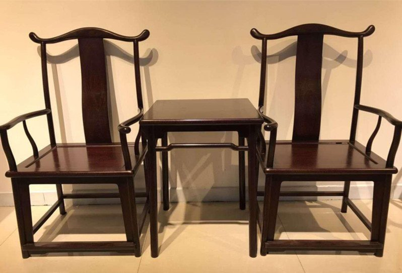 Rare Antique Chinese Zitan Wood Official Hat Chairs